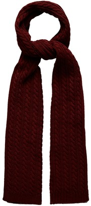 Eton Red Cable Knit Wool Scarf