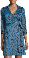 Julie Brown Milo Printed 3/4-Sleeve Wrap Dress, Blue Dakota