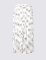 M&S Collection Spotted Cropped Wide Leg Trousers