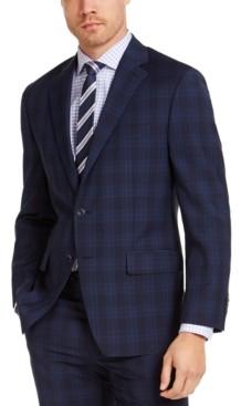 Michael Kors Men's Classic-Fit Airsoft Stretch Navy Blue Plaid Suit Jacket