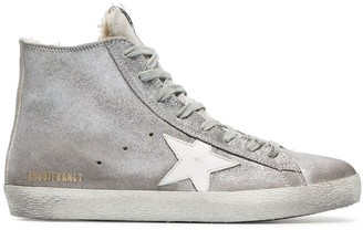 Golden Goose silver Sheepskin lined suede high top sneakers