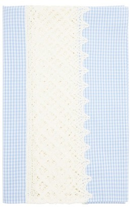 Luisa Beccaria 50cm X 160cm Crochet And Gingham-cotton Tablecloth - Blue