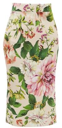 Dolce & Gabbana High-rise Floral-print Silk-blend Skirt - Womens - Pink Print