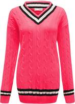 GirlzWalk ® WOMEN CABLE KNITTED V NECK CRICKET JUMPER PLUS
