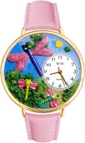 Whimsical Watches Personalized Dragonfly Womens Gold-Tone Bezel Pink Leather Strap Watch