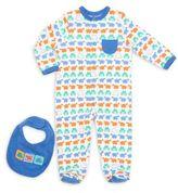 Offspring Baby's Two-Piece Cotton Footie & Bib Set
