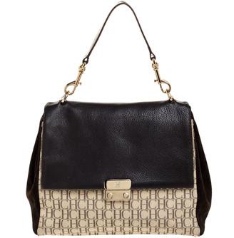 Carolina Herrera Dark Brown/Beige Signature Canvas, Suede and Leather Baret Flap Top Handle Bag