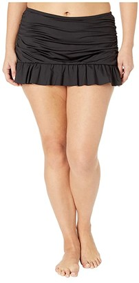 Kenneth Cole Plus Size Ruffle-Licious Ruched Skirt (Black) Women's Swimwear