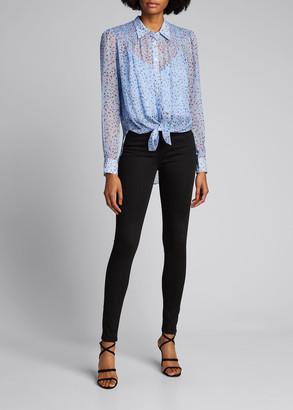 Veronica Beard Dazed Smocked Button-Front Shirt