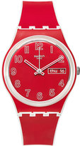 Swatch Unisex Swiss Poppy Field White and Red Silicone Strap Watch 34mm GW705