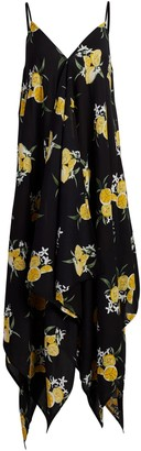 New York & Co. Lemon-Print Handkerchief-Hem Swing Dress