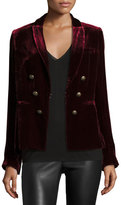 Veronica Beard Velvet Faux-Double-Breasted Blazer, Wine
