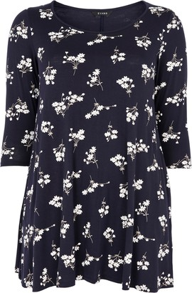 Evans Navy Daisy Floral Print Swing Tunic