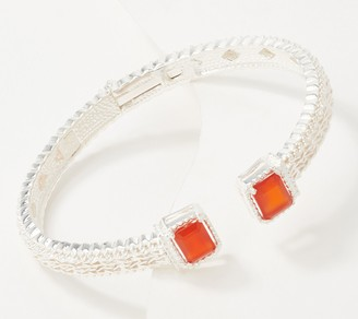 Imperial Silver Emerald Cut Gemstone Hinged Bracelet Sterling Silver