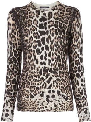 Samantha Sung Womens Knit leopard camel pullover
