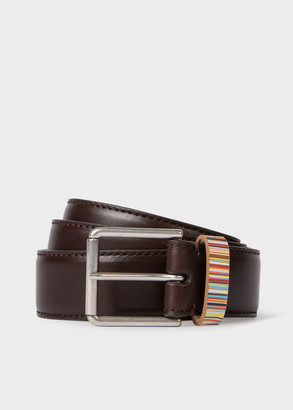 Paul Smith Men's Dark Brown Leather Belt With 'Signature Stripe' Keeper