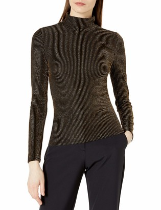 BCBGMAXAZRIA Women's Brinne Metallic Knit Turtleneck Top