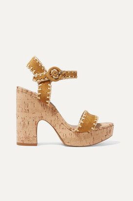 Tabitha Simmons Elena Whipstitched Raffia And Suede Platform Sandals - Tan