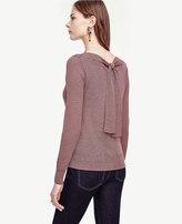 Ann Taylor Petite Striped Extrafine Merino Wool Tie Back Sweater