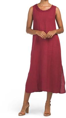 Linen Sleeveless Maxi Dress With Side Slits