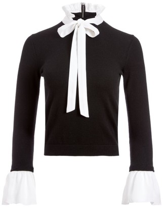 Alice + Olivia Cornelia Wool & Silk-Blend Tieneck Sweater