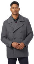 J By Jasper Conran Big And Tall Grey Herringbone Textured Wool-blend Peacoat