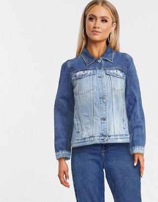 Blank NYC two tone denim jacket in blue