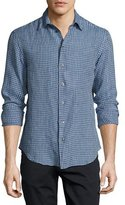 Armani Collezioni Gingham Linen Sport Shirt, Navy/Light Blue