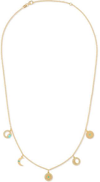 Andrea Fohrman 14-karat Gold, Diamond And Turquoise Necklace