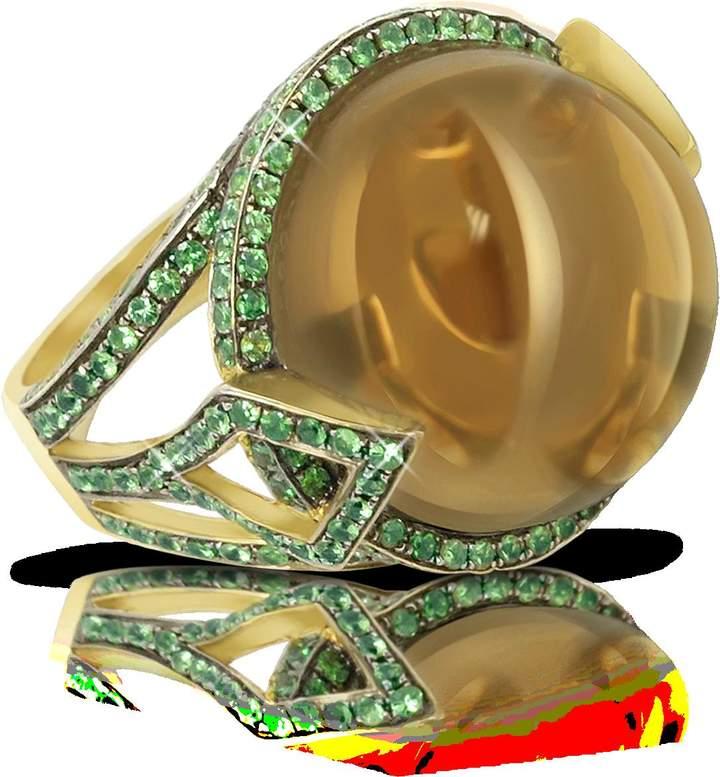 Sho London 18K Gold V-Seal Smoky Quartz Feodora Ring