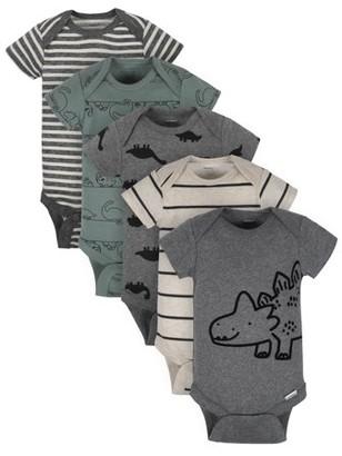 Gerber Baby Boy Organic Short Sleeve Onesies Bodysuits, 5-Pack