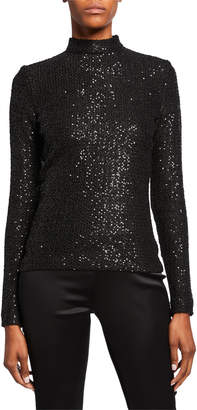 St. John Statement Sequin Mock-Neck Top with Zipper Sleeves