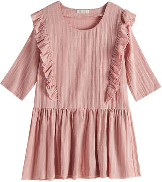 Cup Of Sweet Cup of Sweet Casual Dresses Pink - Pink Ruffle-Accent Drop-Waist Dress - Girls