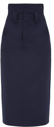 Fendi High-waist Wool-gabardine Pencil Skirt - Blue