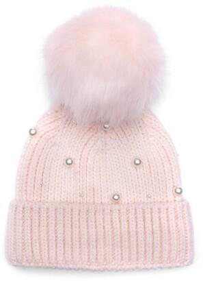 Eugenia Kim Myrna Imitation Pearl Embellished Beanie with Faux Fur Pom