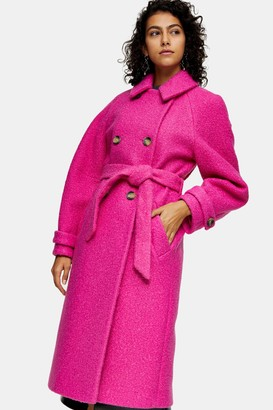 Topshop Womens Bright Pink Boucle Trench - Bright Pink
