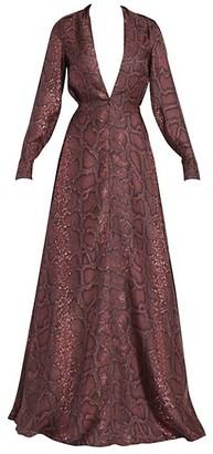 Victoria Beckham Snake-Print Deep V-Neck Silk Gown