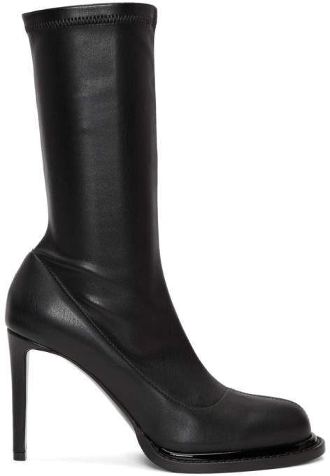 Stella McCartney Black Faux-Leather Sock Boots