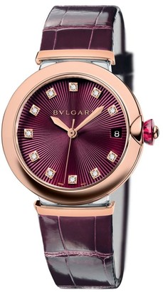 Bvlgari LVCEA Rose Gold, Stainless Steel, Diamond & Purple Alligator Strap Watch