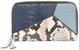 Loewe Puzzle Leather & Snakeskin Wallet, Blue