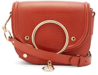 See by Chloe Mara Small Lizard-effect Leather Cross-body Bag - Red