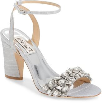 Badgley Mischka Jill Embellished Block Heel Sandal