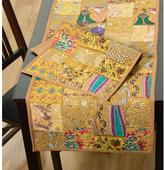 LR Resources Timbuktu 16 in. H x 80 in. W Hand Crafted Gold Cotton and Poly Recycled Sari Table Runner