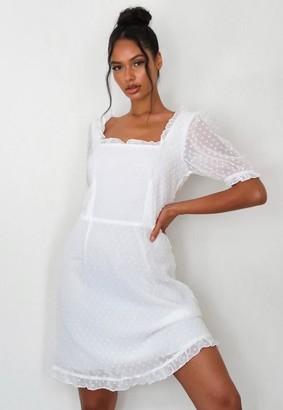 Missguided Tall White Dobby Mesh Frill Mini Dress