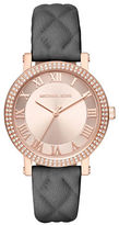 Michael Kors Norie Rose Goldtone Stainless Steel Double Pave Bezel Quilted Leather Strap Watch