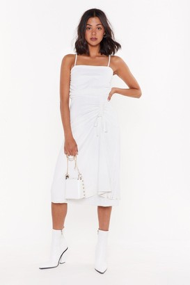Nasty Gal Womens Square is the Love Ruched Midi Dress - White