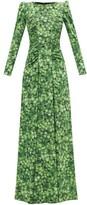 Dolce & Gabbana Clover-print Silk-blend Crepe Gown - Womens - Green Print