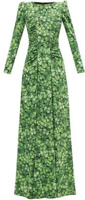 Dolce & Gabbana Clover-print Silk-blend Crepe Gown - Green Print