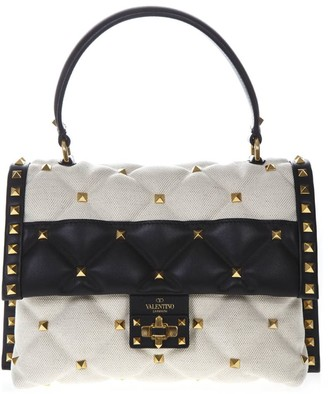 Valentino Garavani Black & White Small Canvas & Leather Studs Bag