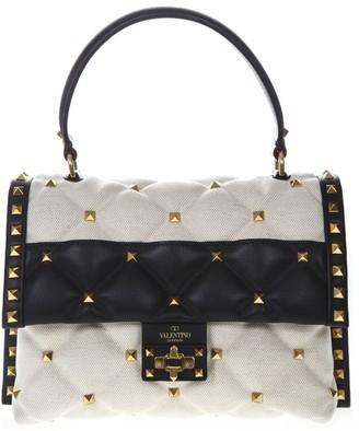 Valentino Garavani Black & White Small Canvas & Leather Studs Bag
